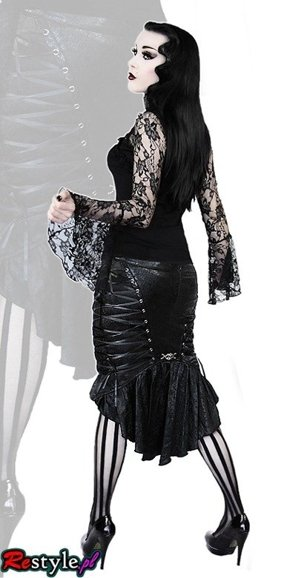 Q-122 PUNK RAVE's pencil corset skirt with a tail train