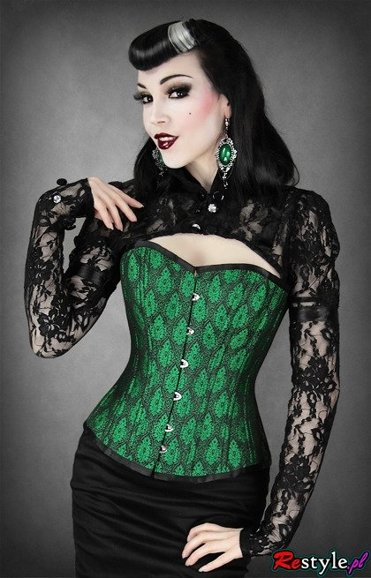 heavy lacing overbust corset ornaments and frills