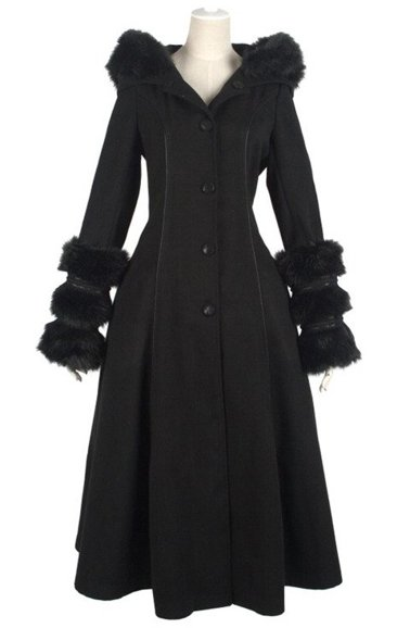 Pyon Pyon LY-036 Black gothic lolita coat fake fur big hood