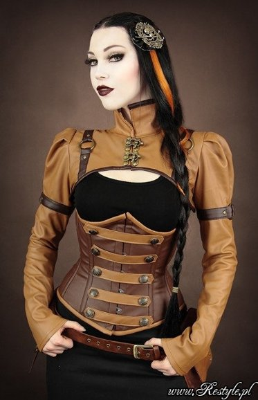 steampunk bolero schrug brown faux leather swing hooks
