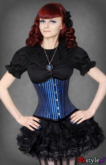 heavy lacing underbust corset turquoise stripes