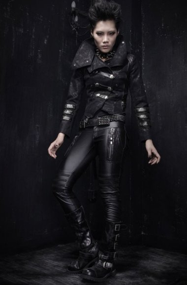 Gothic black Coat and Jacket 3 in 1 PUNK RAVE Y-364