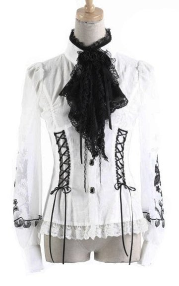 punk rave Y-385 WHITE shrt black jabot elegant with embroidery
