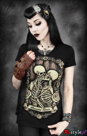black t-shirt IMMORTAL LOVERS skeletons in love romantic t-shirt