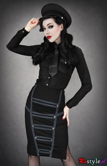 Black Military pencil skirt with grey trimmings high waist