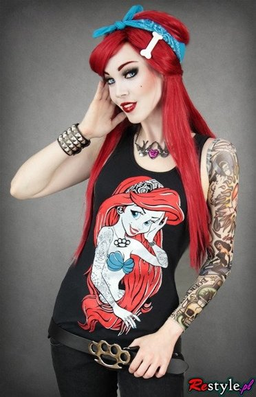 Black tank top Rebel Mermaid Ariel