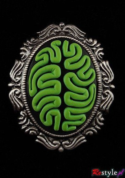 Cameo brooch and pendant GREEN BRAIN
