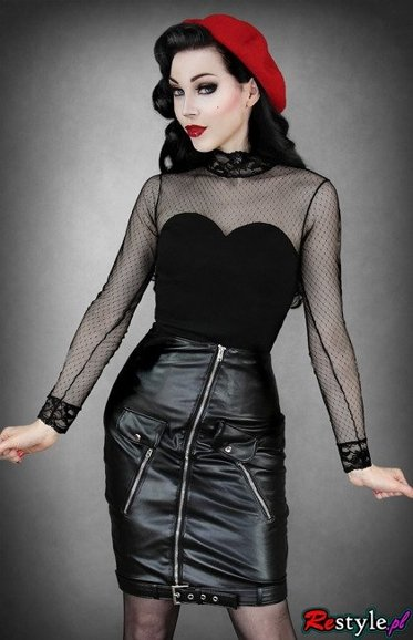 Faux leather rock'n'roll skirt with metal zippers