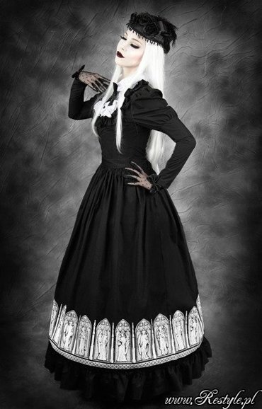 """GOTHIC WINDOWS LONG"" gothic lolita skirt angels and stained glass"