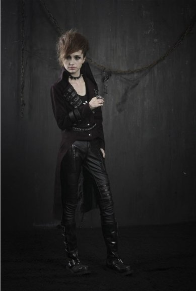 Gothic burgundy tail-coat PUNK RAVE Y-374 industrial with spikes.