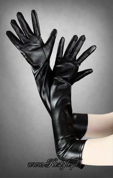 Long black faux leather gloves