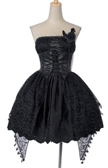 Punk Rave Q-163 Dress romantic jacquard black rose