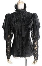 Punk Rave Y-385 Black jabot shirt with schiffon sleeves