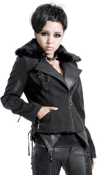 Punk Rave Y-421 Autumn jacket ramones fake fur collar