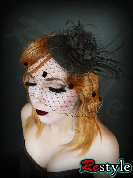Round black fascinator with rose veil little cocktail hat