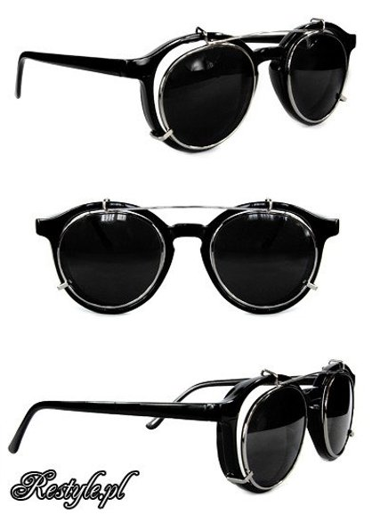 Round steampunk sunglasses - BLACK CHROME