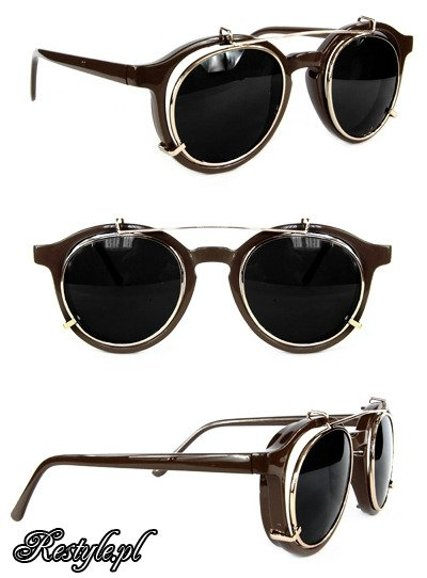 Round steampunk sunglasses - BROWN COPPER