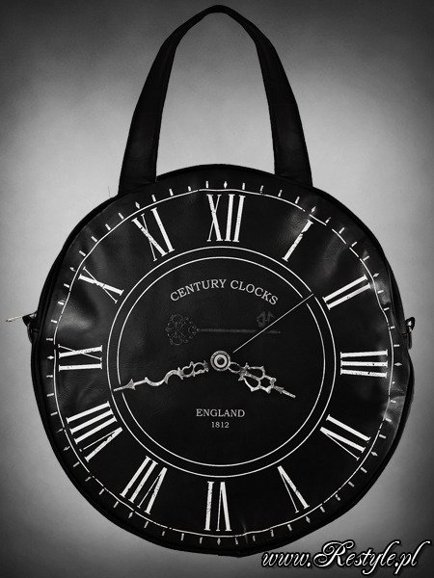 "Watch bag "" BLACK CLOCK-LARGE"" round gothic handbag A4"
