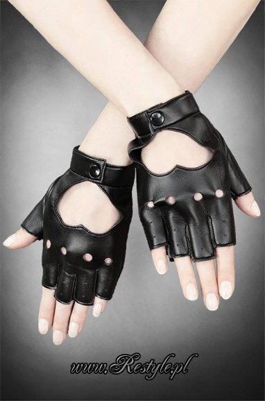 black faux leather gloves short fingers