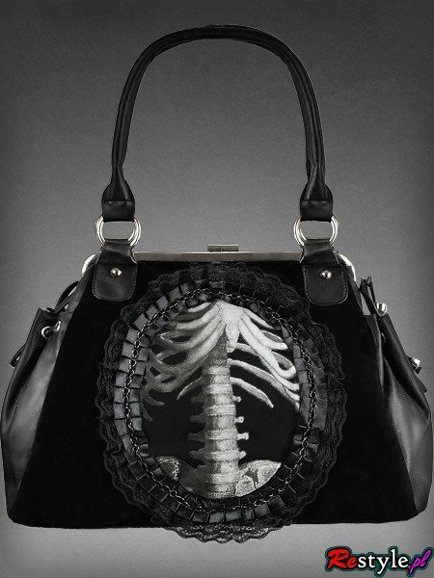 gothic handbag human skeleton in lace frame black velvet
