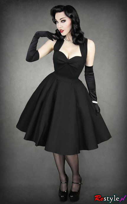 pin up 50'' BLACK DRESS heart neckline, elegant, retro ...