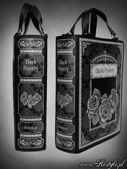 "Black BOOK bag ""DARK POETRY"" gothic lolita handbag, roses and gate"