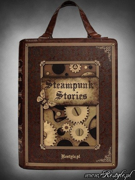 "Brown BOOK bag ""STEAMPUNK STORIES"" steampunk handbag A4"