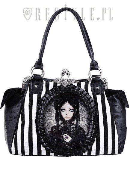 """GREY DOLL"" gothic lolita handbag, black and white stripes"
