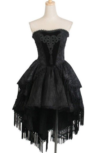Punk Rave Q-171 gothic asymmetric dress with tassels