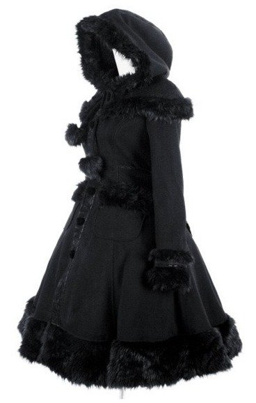 Pyon Pyon LY-024 Black gothic lolita coat fake fur big hood