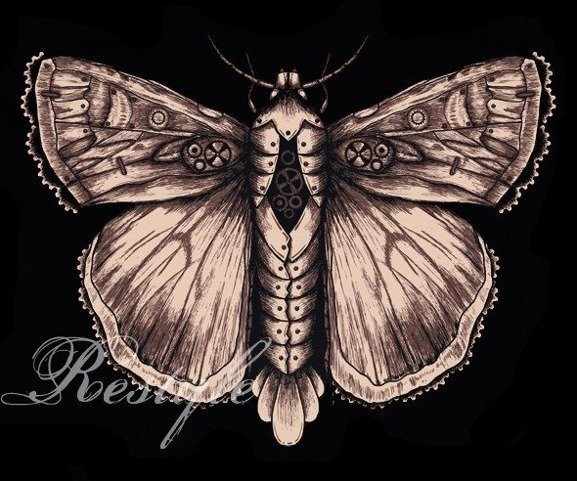 T-shirt steampunk moth graphic on the back